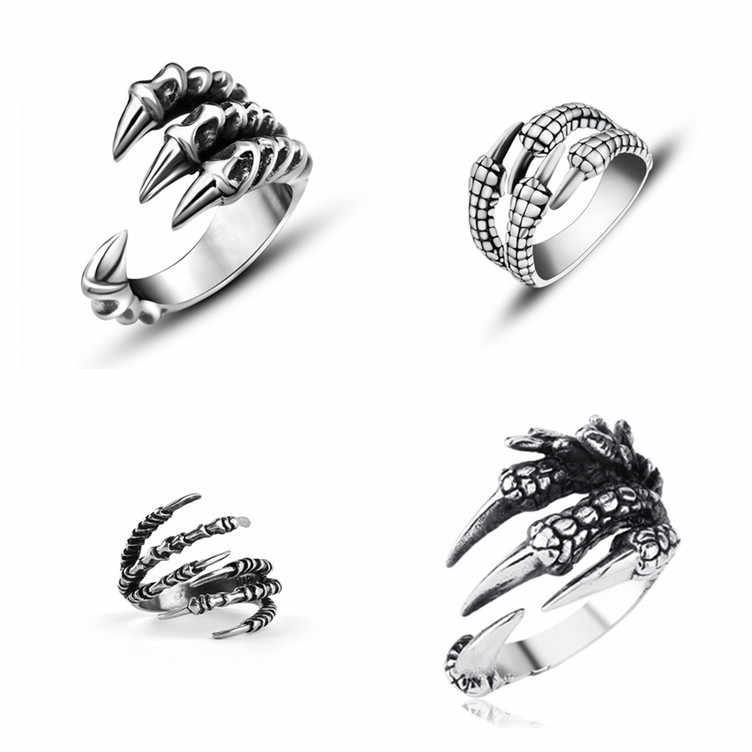 Free Retro Gothic Punk Men Rings Trendy Skull Wolf Dragon Male Rings Jewelry Rock Halloween Accessories Anillo Hombre Bijoux