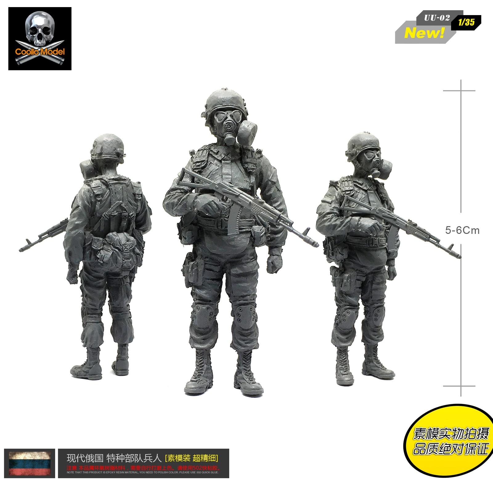 1/35 Figure Kits Russian Alpha Anti-terrorist Force Resin Soldiers Wear Gas Masks  Self-assembled UU-02