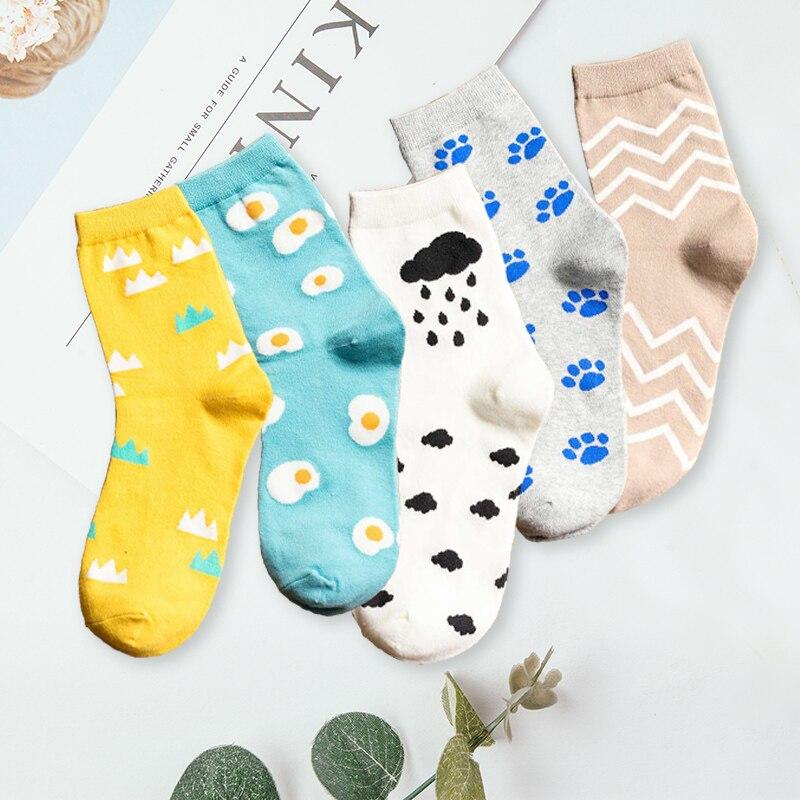Creative Women Socks Funny Art Cloud Stripe Print Cotton Sock Casual Long Socks