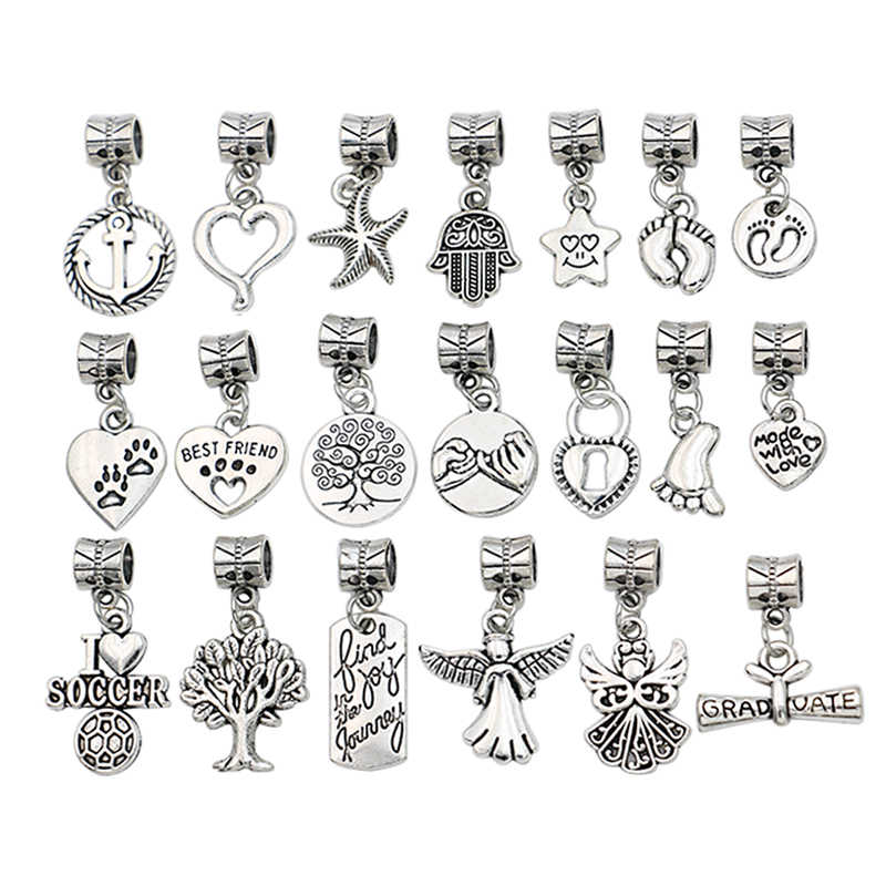 Mixed Antique Silver Plated Tree of Life Heart Angel Chams Beads for European Charms Bracelets Jewelry Making Accessories DIY