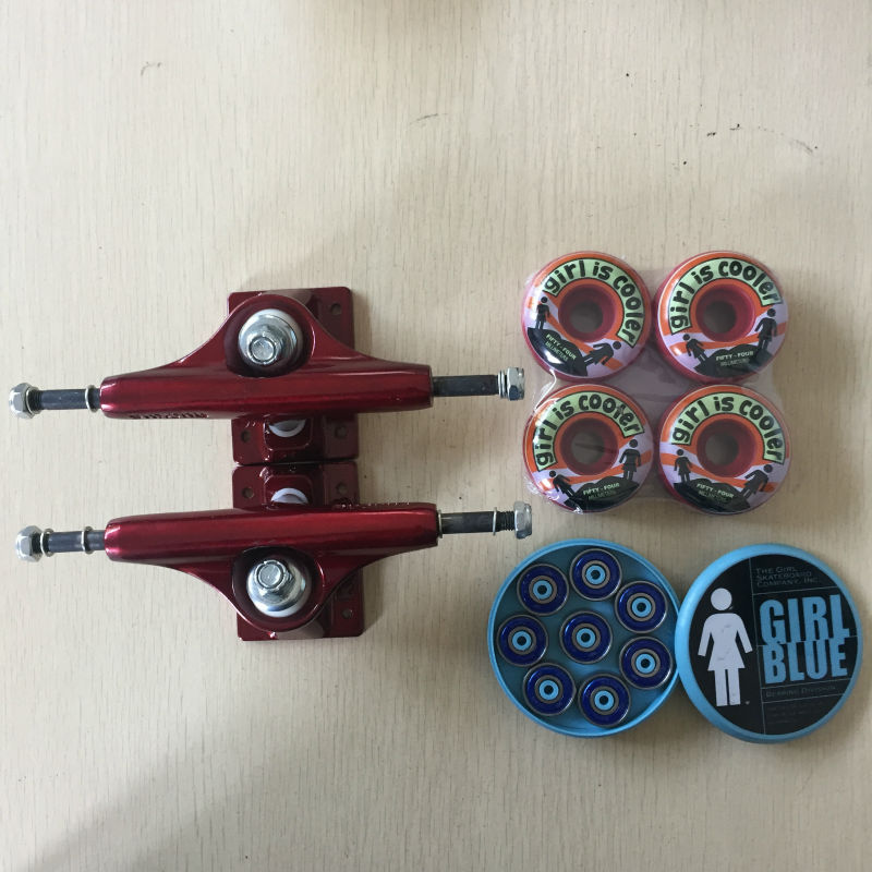 Free Shipping Skateboard Parts RUCKUS Aluminum 4.75' or 5' Skate Trucks GIRL PU Skate Wheels 54MM and GIRL ABEC-3 Bearings  50mm 53mm 101a chocolate skateboard wheels made by high density pu 4 wheels for skate trucks parts to set up for the board