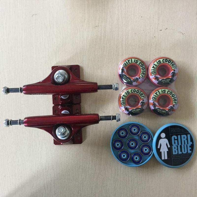 Livraison gratuite pièces de Skateboard RUCKUS aluminium 4.75 'ou 5' Skate Trucks fille PU Skate roues 54 MM et fille ABEC-3 roulements