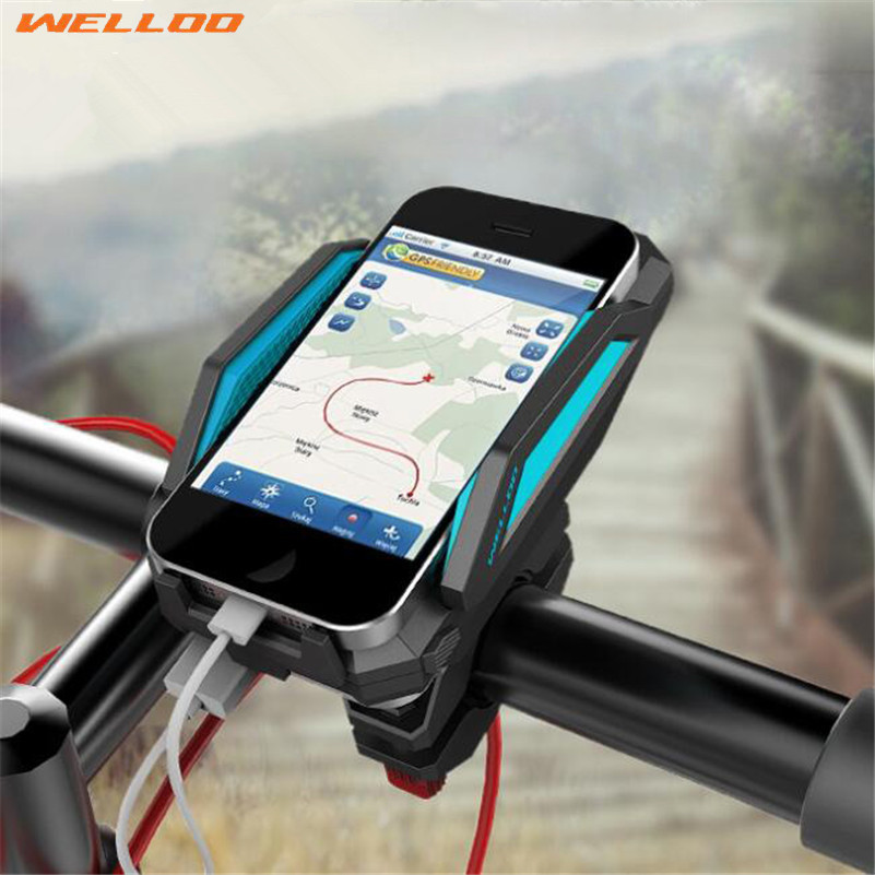 ФОТО WELLOO 360 Degree Rotation Bicycle Phone Holder For GPS With ReChargable Stand Bike Navigation Cycling Phone Holder Bicycle