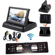 "4.3"" Car LCD Foldable Monitor Rear View Kit + Wireless EU Car License Plate Frame Reversing Backup Parking 4 LED Camera"