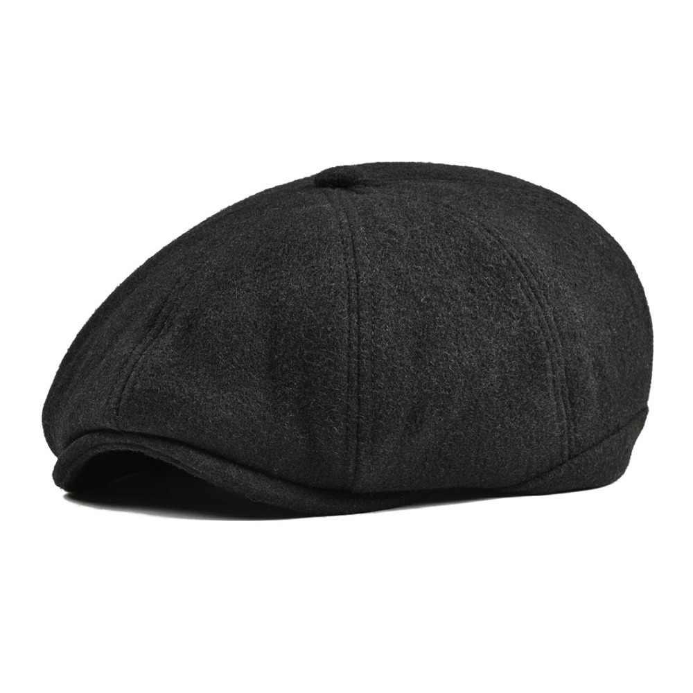 VOBOOM النساء الرجال تويد الصوف قبعة موزع الصحف متعرجة 8 لوحة البلد بيكر بوي اللبلاب قبعة مسطحة رمادي أسود قبعات بيريه Boina 111