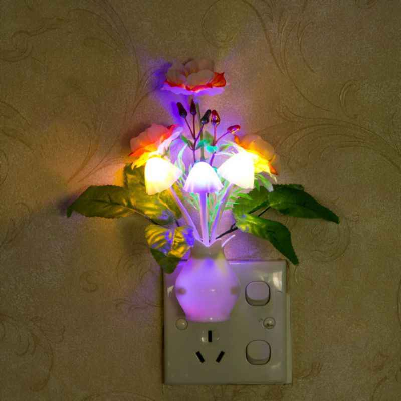 LED Mushroom Flower Plant Colorful Night Light US Standard Plug Lamp Novelty Wall Socket Lights Lamp for Bedroom Decoration