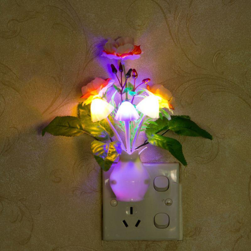 LED Mushroom Flower Plant Colorful Night Light US Standard Plug Lamp Novelty Wall Socket Lights Lamp For Bedroom Decoration