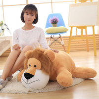 Fancytrader Pop Soft Forest Animal Plush Toy Lying Lion Elephant Tiger Horse Stuffed Doll Kids Play Toy Baby Gift