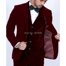 Burgundy Velvet Slim Fit Men Suits 3 Piece Tailor Made Mens Stage Clothes Wedding Groom Tuxedos for Prom Party Jacket Pants Vest burgundy slim fit men suits for prom stage wedding groom tuxedo black peaked lapel blazer tailor made 3 piece jacket pants vest