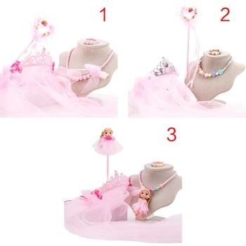 4Pcs/Set Kids Flower Girl Veils Crown Hairband Magic Wand Necklace Bracelet Set Jewelry Headpiece Birthday Wedding Party C Bridal Headwear