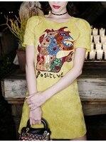 Sexy Monster Short Sleeve Female Party Mini Dress Luxury Shiny Yellow Shirt Dress Women Summer