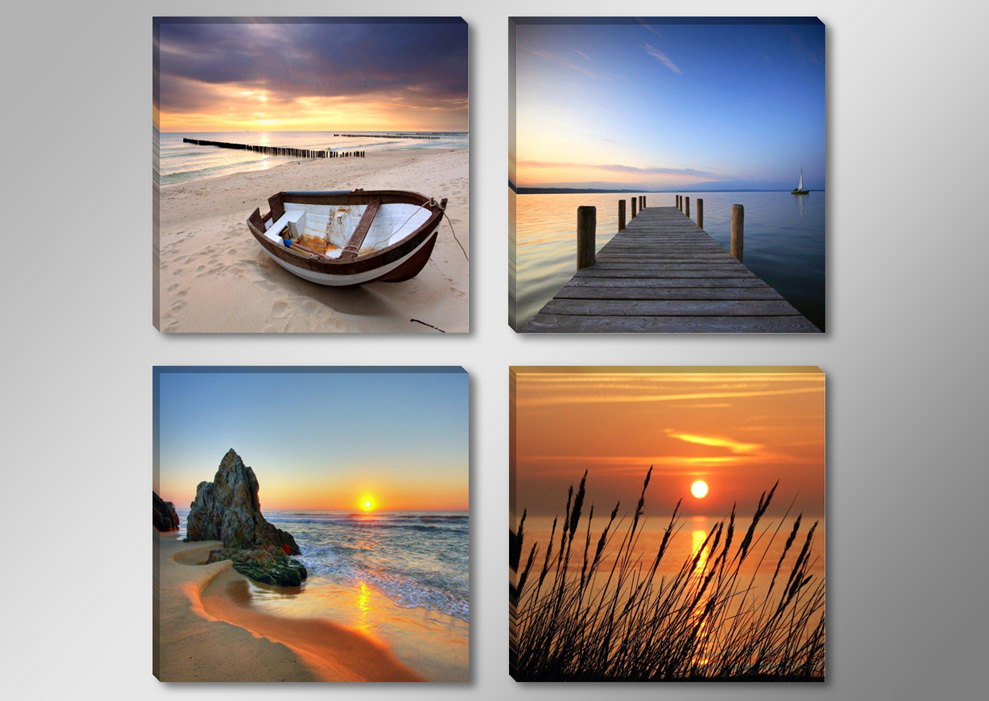 canvas print painting artwork seaside boat wharf s734 hd 4 panels set wall art picture photo. Black Bedroom Furniture Sets. Home Design Ideas