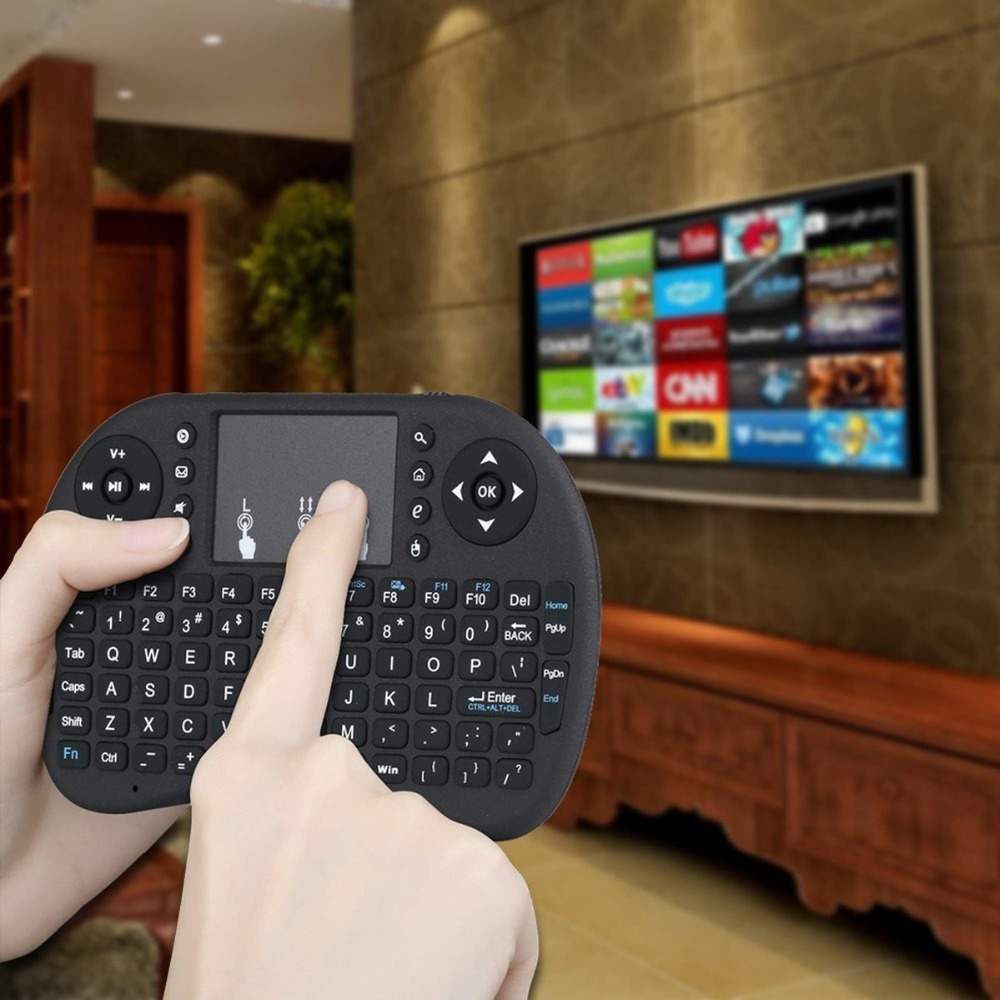 <font><b>2.4GHz</b></font> Mini <font><b>Wireless</b></font> Handheld QWERTY <font><b>Keyboard</b></font> with Touchpad Mouse for Google Andriod TV Box/MacOS/PC/Pad/Xbox 360/PS3/HTPC/IPTV image