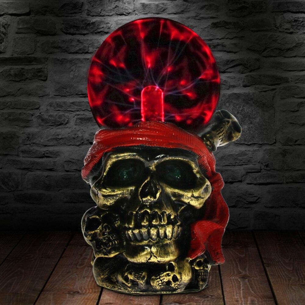 Bronze Skull Form Plasma Ball Red Headscarf Pirate Globe Novelty Table Lamp Desk Decor Glass Halloween Night Light Gifts