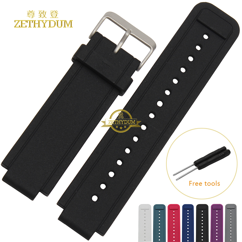 Silicone watchband Rubber strap wristband bracelet Smart watches band for Garmin 24*15mm Convex interface belt Free tools