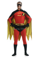 (LS7261)Red And Black Tights Unisex Cheap Robin Fetish Zentai Suits Superhero Catsuit With Cape Halloween Costume