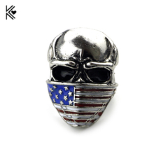 Hot Sell Steel Soldier New Style Antique Silver Skull Ring American Flag Mask Ring Fashion Biker Heavy Skull Jewelry Men Gift