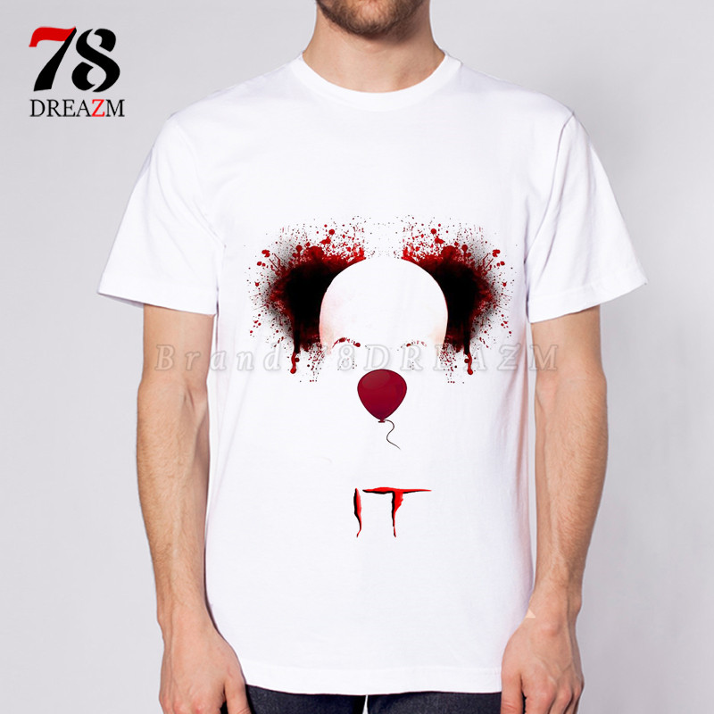 2017 IT movie T Shirt Mens stephen king printed High Quality clown Tops Tees fear halloween pennywise Custom male t-shirt