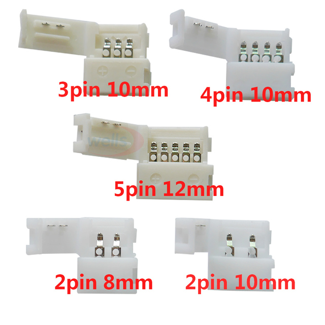 10pcs 2pin 3pin 4pin 5pin  led connector Clip, for 5050 3528 3014 LED single color/ RGB RGBW Strip