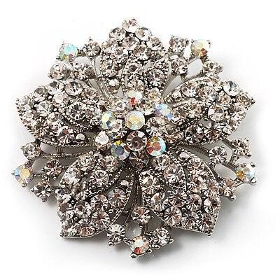 2,2 дюймов винтажная Серебряная черная Хрустальная Морская звезда, брошь для вечеринки, выпускного, ювелирные изделия, подарки - Окраска металла: 2