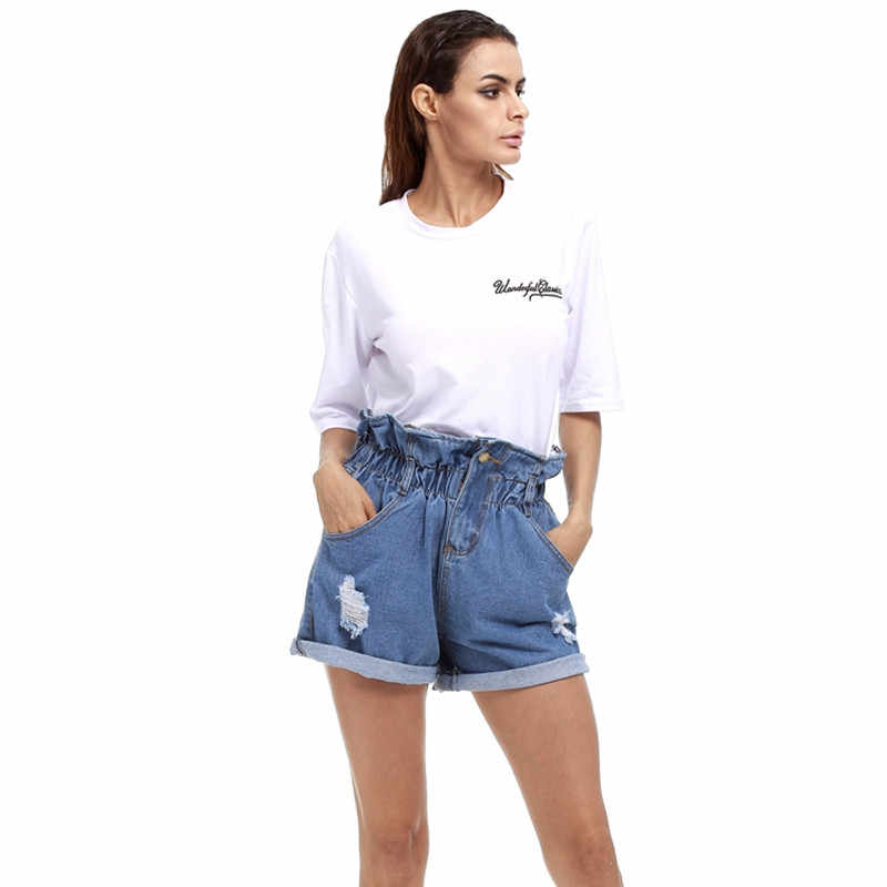 0f01e4321 ... 2018 New Summer Denim Shorts Women Curling Hole Loose Casual Short  Feminino Elastic High Waist Jeans ...