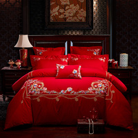 New 4/7 Pieces red 100% Cotton Luxury Bedding Set King Size Queen Bed Set Embroidery Duvet Cover Bed Sheet Pillowcase