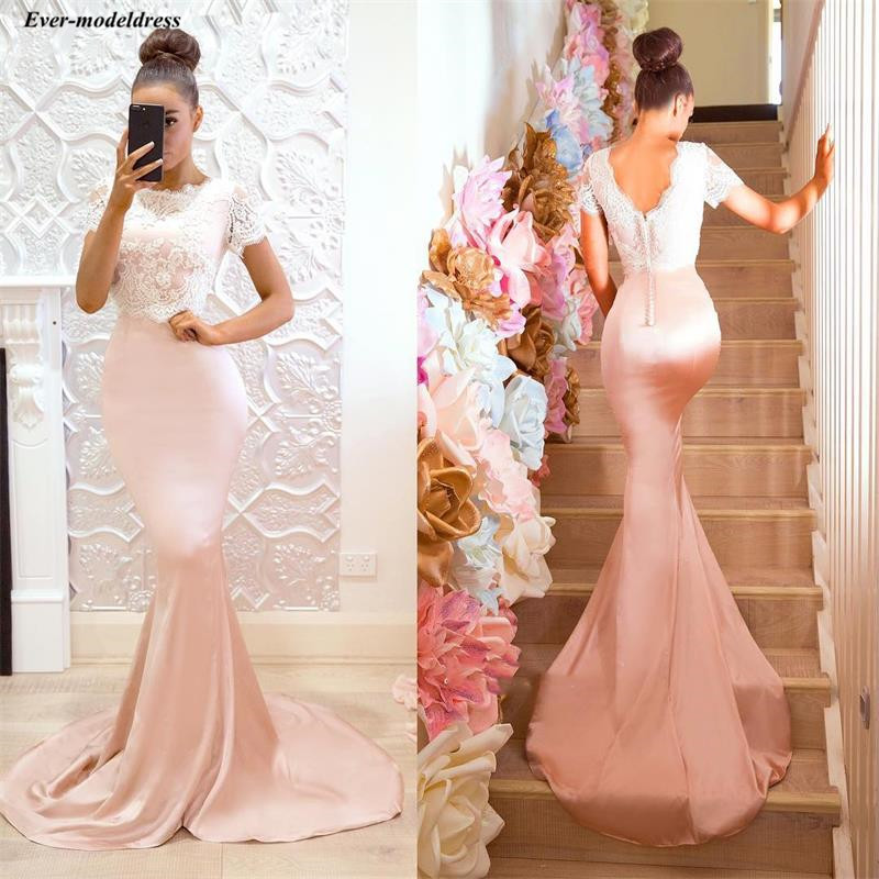 Chic Arabic Mermaid Long   Bridesmaid     Dresses   2019 O-Neck Short Sleeves Lace Buttons Back Pink Maid Of Honor Gowns Vestidos Novia