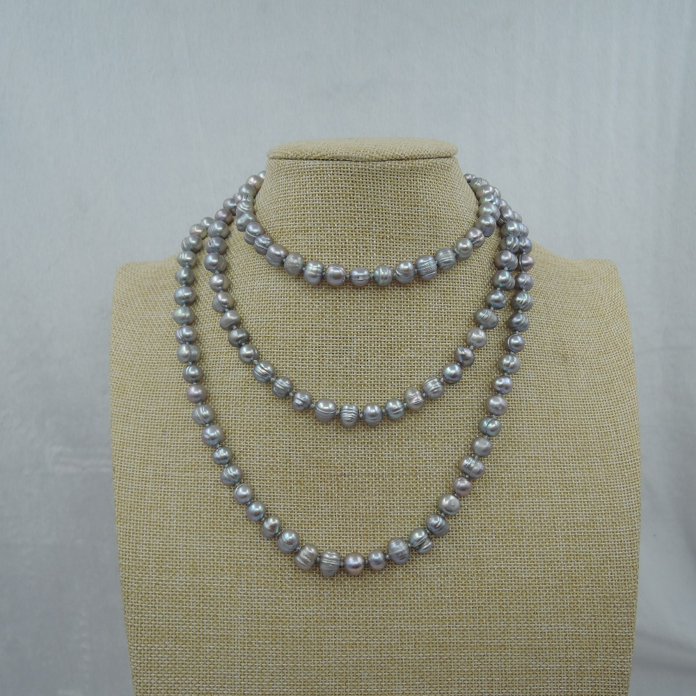 100% NATURE FRESH-WATER PEARL LONG   NECKLACE