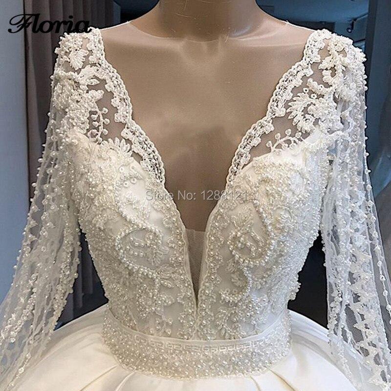 De luxo Vestidos de Casamento 2019 Robe De Dubai Mairee Lace Sheer Sexy Back V Pesados Pérolas Bola Vestidos de Noiva Vestidos de Casamento kaftans Novo - 3