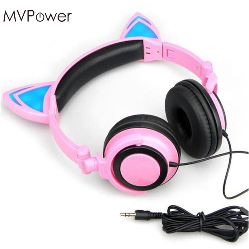 MVpower Wire Cat Ears Headset Folding led Glowing flash light gaming Headphones For Macaroons PC Laptop phone earphone foldable cat ear headphones gaming headset earphone with glowing led light for phone computer best halloween gift for girls kids