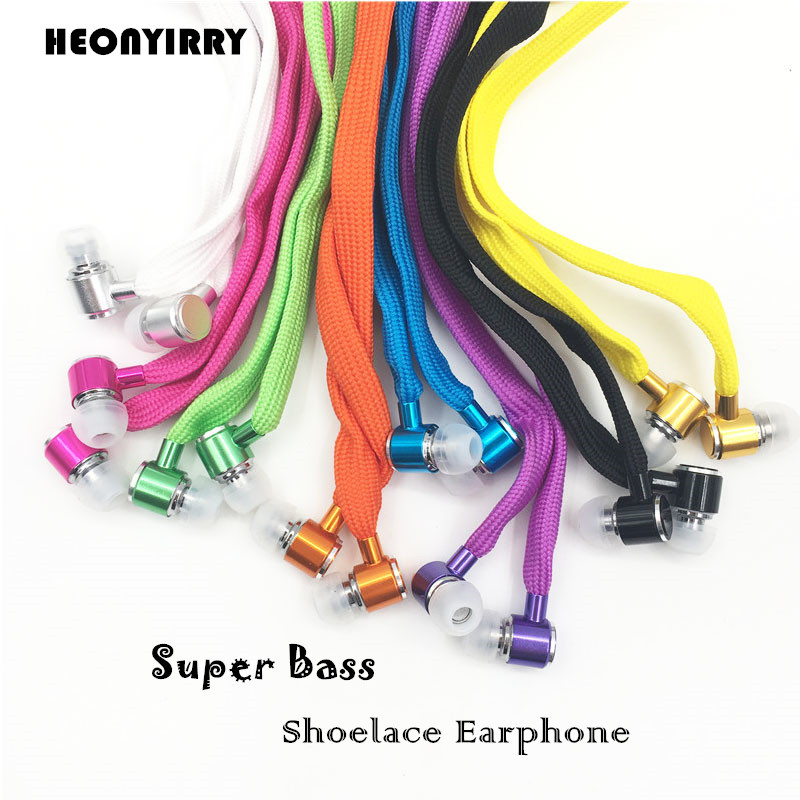 Shoelace Earphones Super Bass Headphones Metal Headset Stereo Earbuds Running Earpieces Sport Handsfree With Mic hot new sale shini q140 stereo earhook earphones earbuds super bass headset handsfree 3 5mm with mic 9 colour free shipping