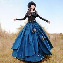 Envío Gratis 2019 Boshow otoño e invierno largo Maxi elástico de la cintura falda de capas con grandes dobladillo para las mujeres de pana de falda Bohemia