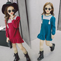 2017 Korean children's clothing wholesale girls cotton and linen long-sleeved dress children's loose and comfortable long dress