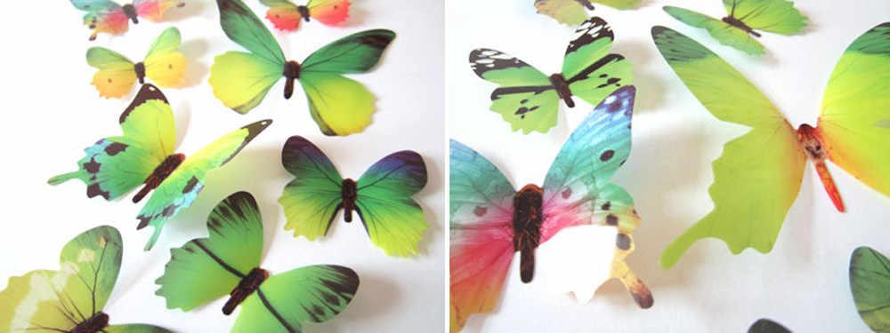 Dekorasi Kamar Tidur Dinding Dekorasi 12 Buah Stiker Dinding Dekorasi Rumah 3D Kupu-kupu Pelangi