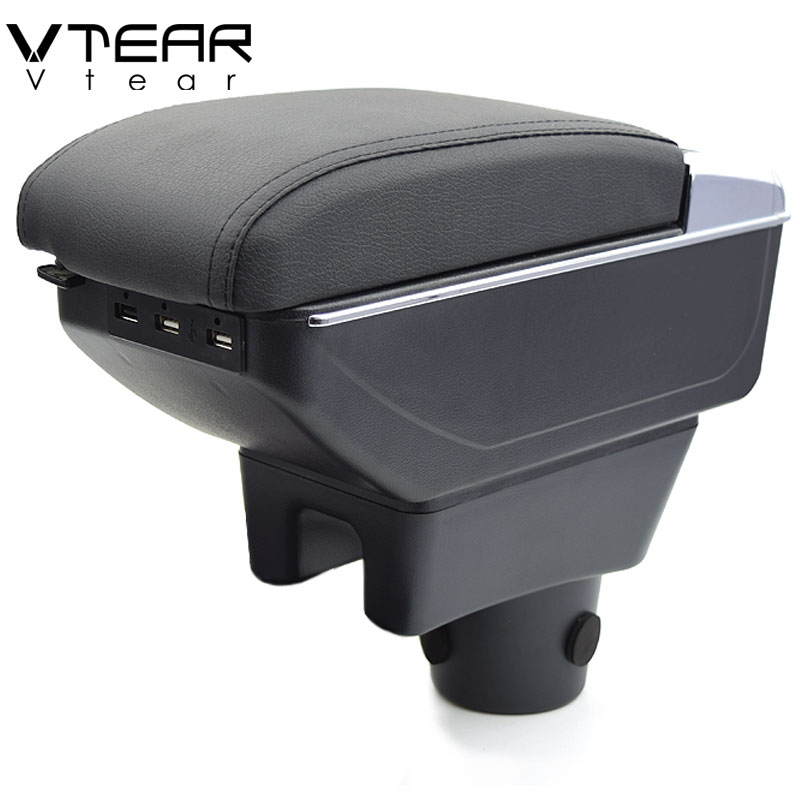 Vtear For mitsubishi Attrage Mirage armrest box USB Charging heighten Double layer central content holder ashtray