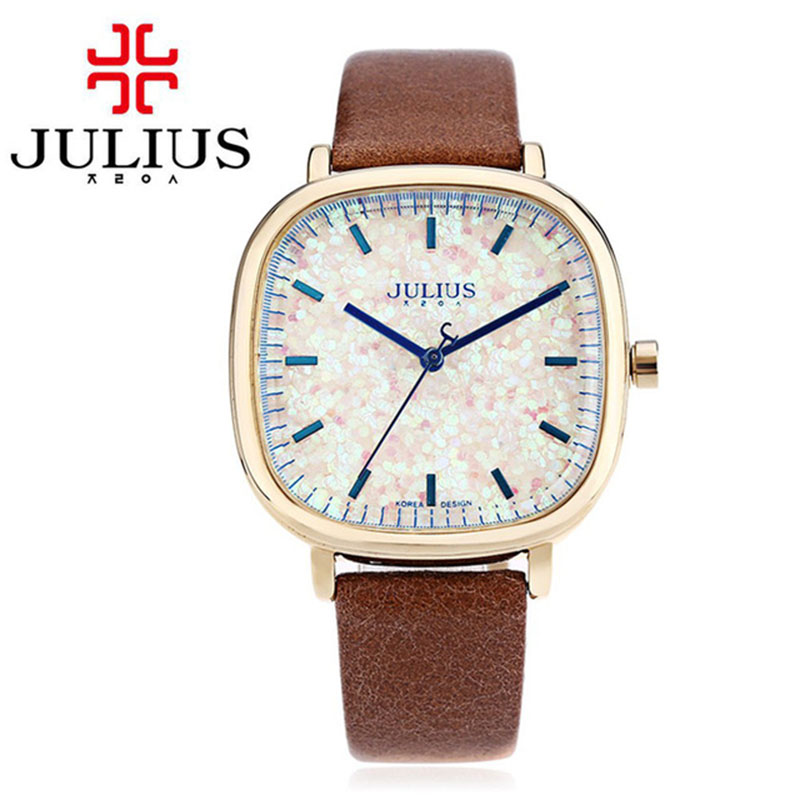 JULIUS Women Watch Luxury Brand Square Girls Watches Leather Strap Korean Designer wristwatch Jewelry JA-889 Relogio Feminino
