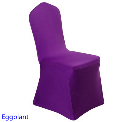 Spandex Chair Cover Eggplant Colour Flat Front Lycra Stretch Banquet Chair  Cover For Wedding Decoration Wholesale