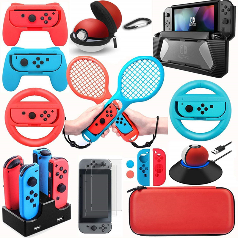 Accessories Kits for Nintendo Switch NS Games Starter Wheel Grip Caps Carrying Case Screen Protector Bundle Controller Charger