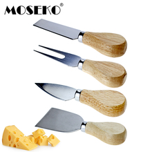 MOSEKO 4pcs/set Stainless Steel Cheese Board Sets Knife Bamboo Handle Cutter Slicer Kit Cooking Baking Tools
