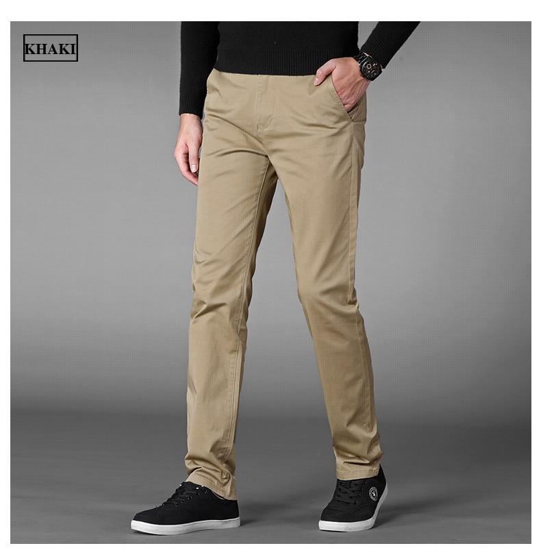 HTB1RectahrvK1RjSszeq6yObFXaD 4 Colors Casual Pants Men Classic Style 2019 New Business Elastic Cotton Slim Fit Trousers Male Gray Khaki Plus Size 42 44 46