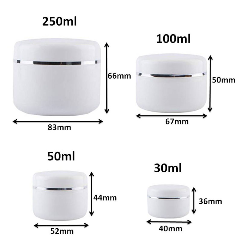 Image 2 - 30Pcs 30g 50g 100g 250g Cream Jar,White Plastic Makeup Container,PP Sample Cosmetics Box,Empty Mask Canister Refillable BottlesRefillable Bottles   -