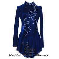 female figure skating dress high qulity blue female dress skate free shipping skate dresses customize