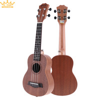 21 Inch Soprano Ukulele Uke Sapele 15 Fret Four Strings Brown Musical Instrument