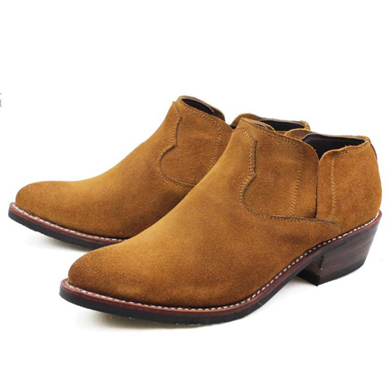 Hand-stitched Suede Cowhide Genuine Leather Western Cowboy Shoes Men Riding Boots Martin Boots Ankle Men's Booties, Big 45 US11 zobairou hot design suede ankle riding boots women western cowboy shoes woman fashion real genuine leather dicker boots 34 41
