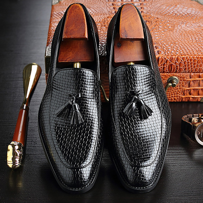Casual Shoes Men Leather Fashion Tassel Plus Size 38-48 Loafers Men Slip-on Male Office Shoes Superstar Weave 2019 Spring Autumn