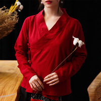Chinese Top Spring Summer Female Ancient Hanfu Originally Long Sleeve Ladies Chinese Tops Cotton Linen Chinese Tunic Blouse