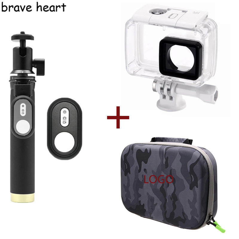 waterproof housing case + camera bag box + Extendable Monopod tripod for xiaomi yi 4K 2 II Xiaoyi action Camera accessories cp a216 lock buckle for xiaomi yi waterproof housing