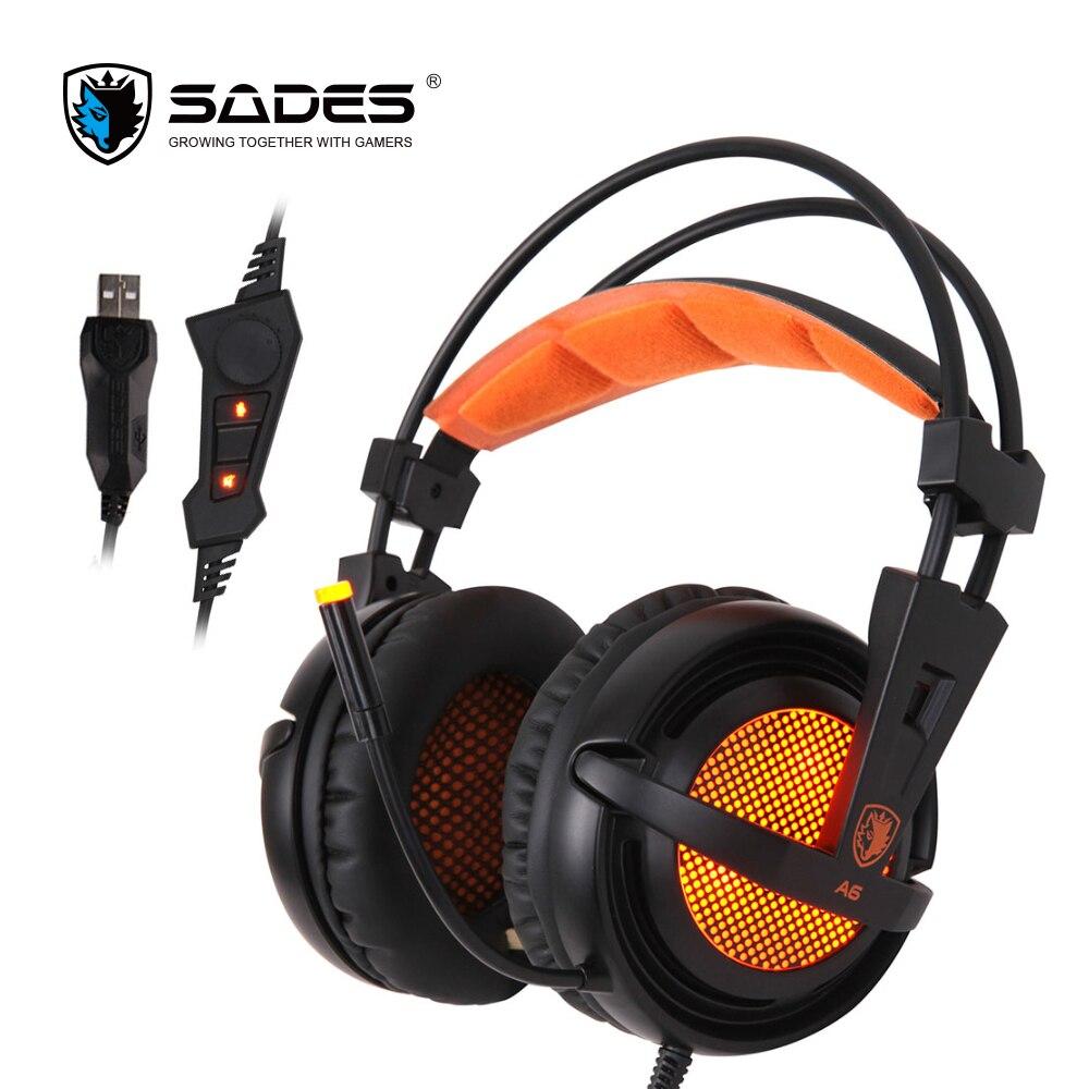 Sades A6 7.1 Surround son USB stéréo casque de jeu sur l'oreille isolation du bruit casque de lumières LED respiration pour PC Gamer