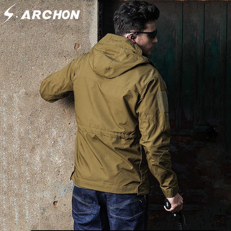 S. ARCHON M65 осень-зима военной области куртки Для мужчин с капюшоном Водонепроницаемый ветрозащитный тактический куртка пилот Мужская Камуфляж армии Костюмы