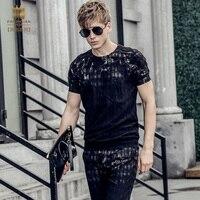 Fanzhuan Бесплатная доставка Новая мода Повседневная 2017 Мужской Для мужчин летняя с короткими рукавами футболка Штаны комплект из 2 предметов